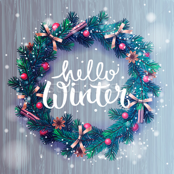 Hello winter background, Christmas wreath Stock photo © ikopylov
