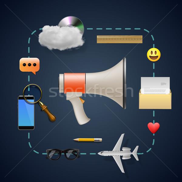 Internet marketing megafon ikonok online üzlet terv Stock fotó © ikopylov