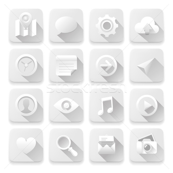 Stockfoto: Witte · iconen · web · design · communie · vector · eps10