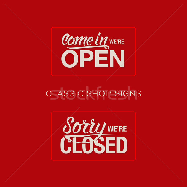 Open and Closed Sign - information retail store Stock photo © ikopylov
