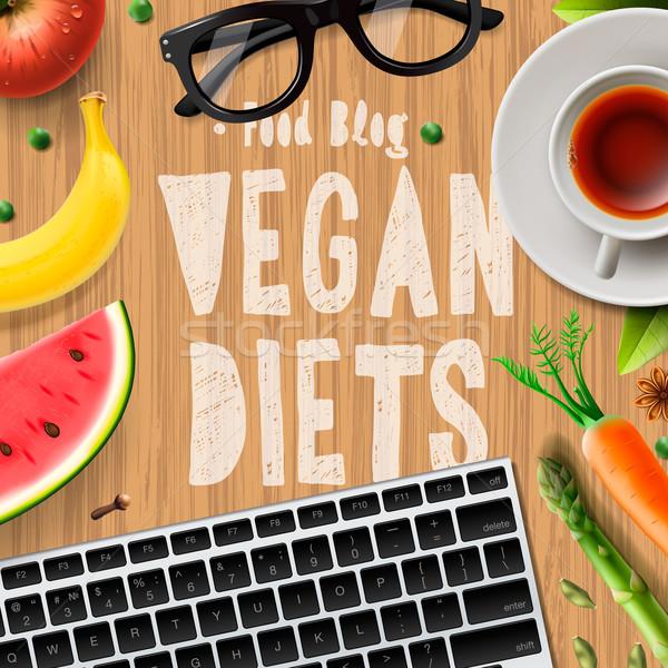 Vegan régime alimentaire blogging végétarien aliments sains organique Photo stock © ikopylov