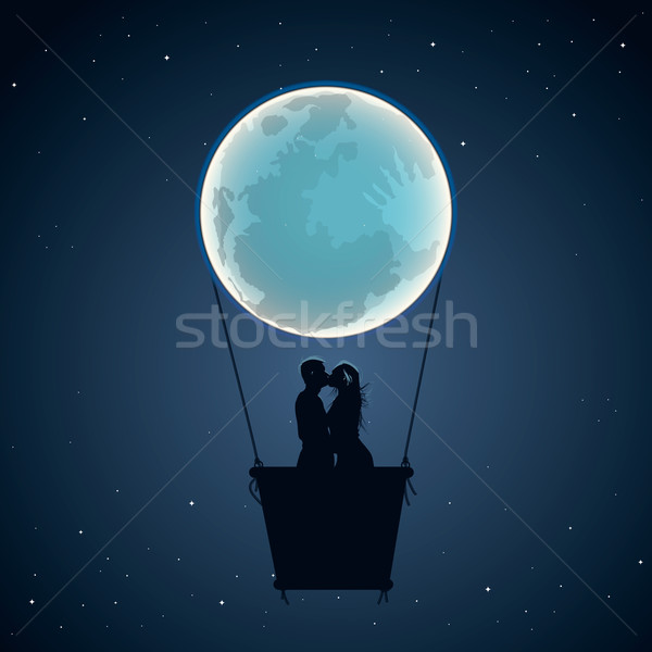 Lovers by hot air balloon in moon form Stock photo © ikopylov