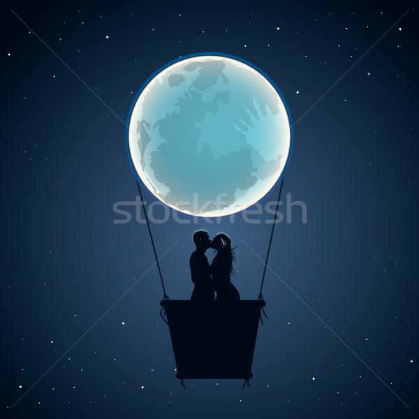 Szerelmespár hőlégballon hold űrlap vektor eps10 Stock fotó © ikopylov