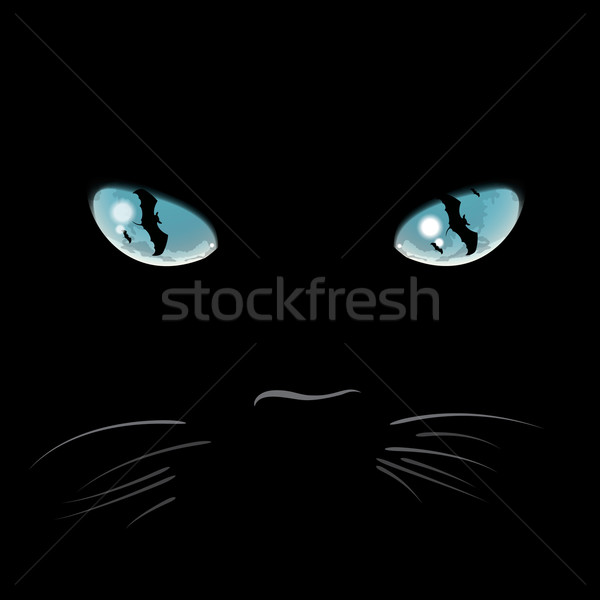 Closeup portrait of a Halloween black cat Stock photo © ikopylov
