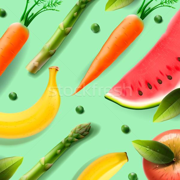 Vegetarisch eten patroon vruchten groenten appel gezondheid Stockfoto © ikopylov