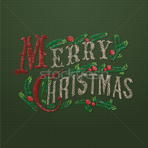 Embroidered Merry Christmas card Stock photo © ikopylov