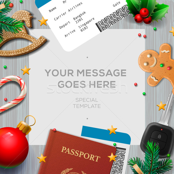 Winter holiday, Christmas travel template Stock photo © ikopylov