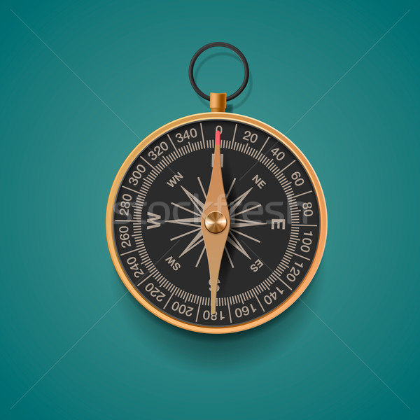 Vintage brass compass, isolated background Stock photo © ikopylov