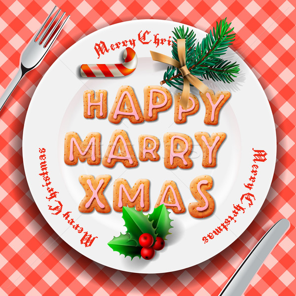 Gingerbread cookie on the plate, table setting for Christmas dinner Stock photo © ikopylov