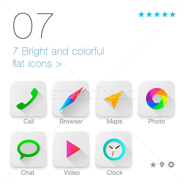 Colorful Flat icons set for Web and Mobile Application Stock photo © ikopylov
