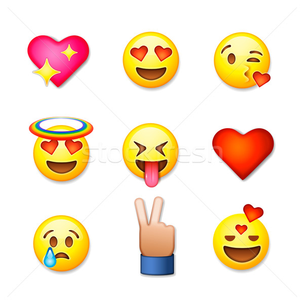 Valentines day emoticon icons, Love emoji set, isolated on white background, vector illustration. Stock photo © ikopylov