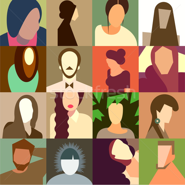 Set of various avatar faces Stock photo © ikopylov