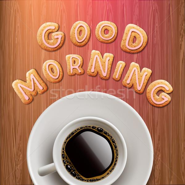 Sabah iyi fincan kahve sevmek dizayn kafe Stok fotoğraf © ikopylov
