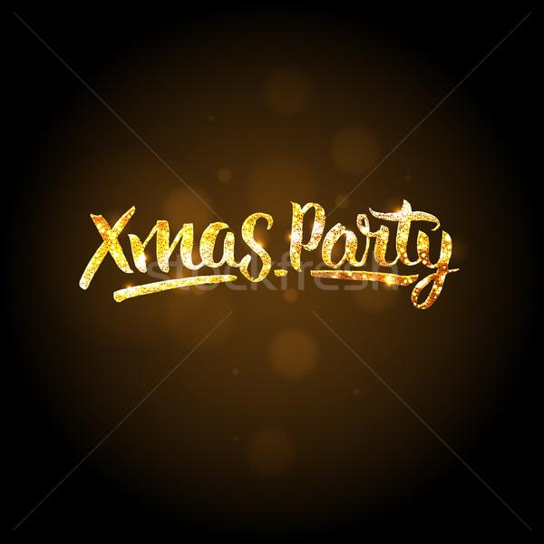 Noel parti şablon Noel altın soyut Stok fotoğraf © ikopylov