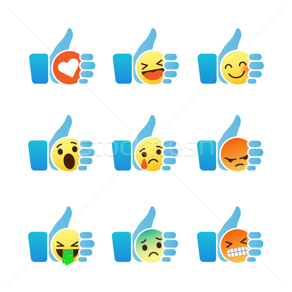 Set Of Emoticons Thumb Up Symbol With Emoji Smiley Faces Vector