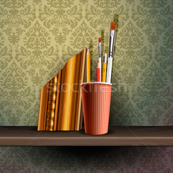 Different art brushes and pencils in flask. Stock photo © ikopylov