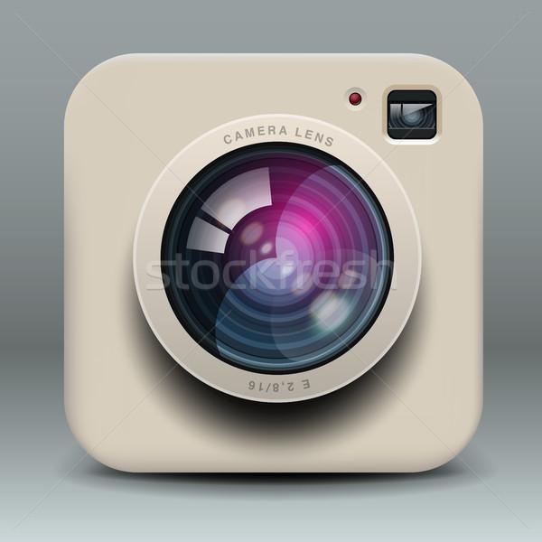 Foto stock: Branco · foto · câmera · ícone · vetor · eps10