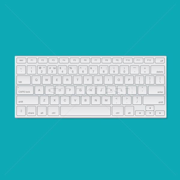 Computer keyboard, isolated on green background Stock photo © ikopylov