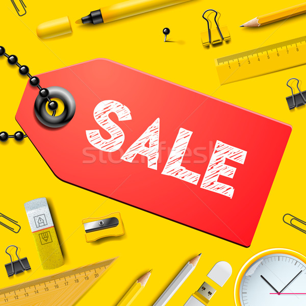 Back to school SALE background, with realistic supplies, vector illustration. Stock photo © ikopylov
