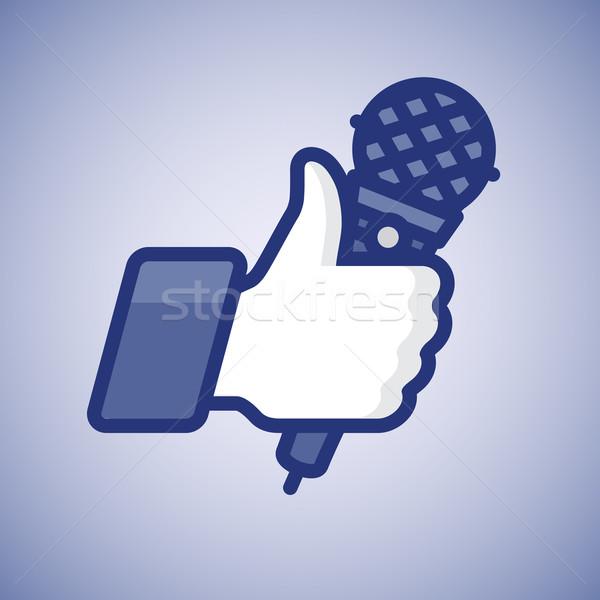 Karaoke Like/Thumbs Up symbol icon with microphone Stock photo © ikopylov