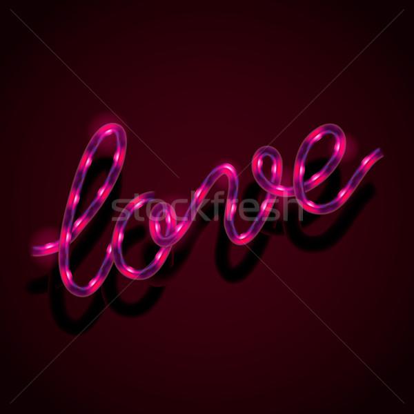 Neon sevmek vektör eps10 örnek Stok fotoğraf © ikopylov
