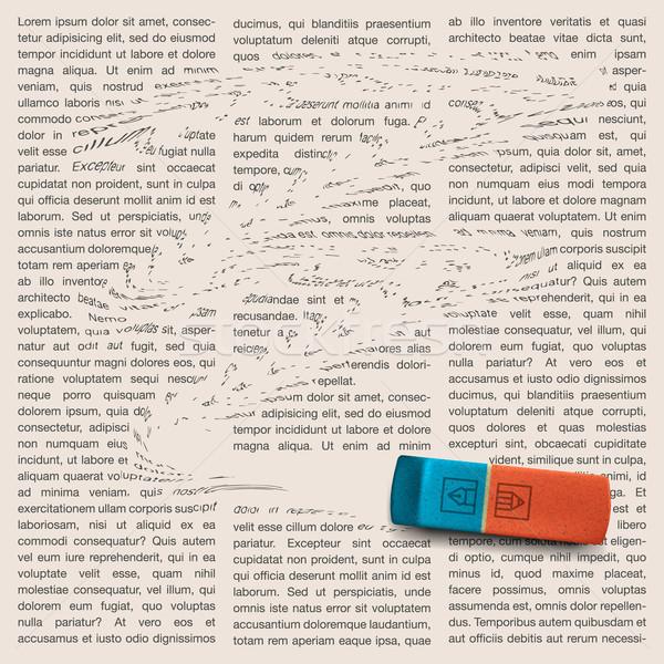 Newspaper page with eraser of erasing news Stock photo © ikopylov