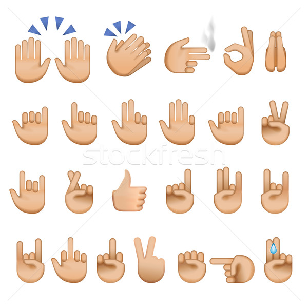 Set of hands icons and symbols, emoji Stock photo © ikopylov