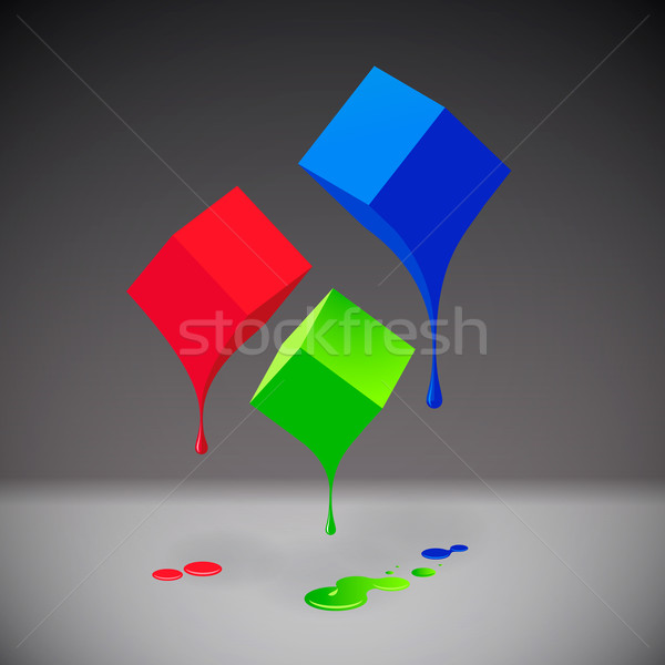 RGB cubes with blobs on grey background Stock photo © ikopylov