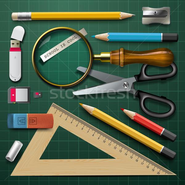 красочный школьные принадлежности вектора eps10 иллюстрация служба Сток-фото © ikopylov