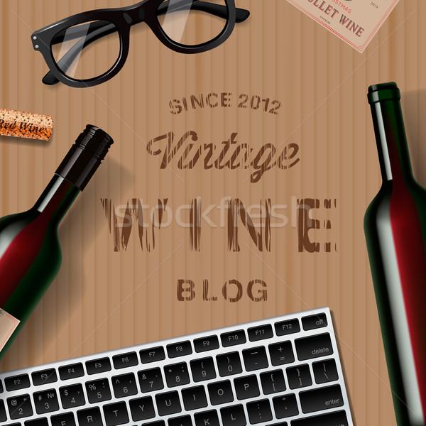Blog bor szerelmespár kóstolás karton étel Stock fotó © ikopylov