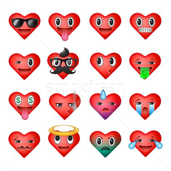 Establecer corazón caras ojo Foto stock © ikopylov