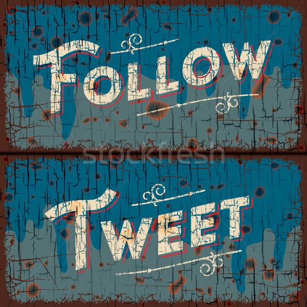 Tweet, follow words - social media concept Stock photo © ikopylov
