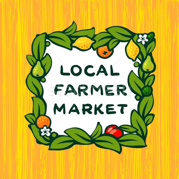 Lokaal landbouwer markt boerderij logo-ontwerp boom Stockfoto © ikopylov
