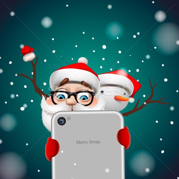 Kerstman sneeuwpop wenskaart herten boom Stockfoto © ikopylov