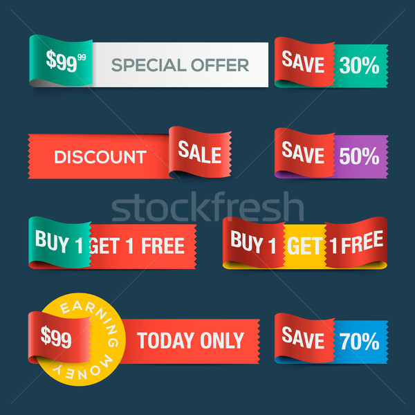 Collection of sale discount website ribbons Stock photo © ikopylov