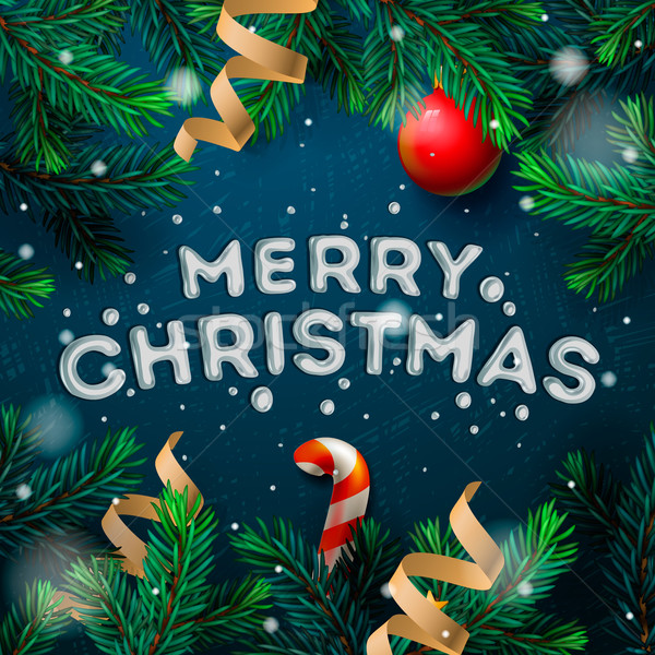 Merry Christmas greeting card with fir twigs Stock photo © ikopylov
