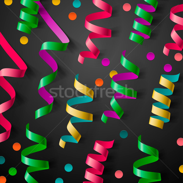 Party design template with streamers and confetti Stock photo © ikopylov