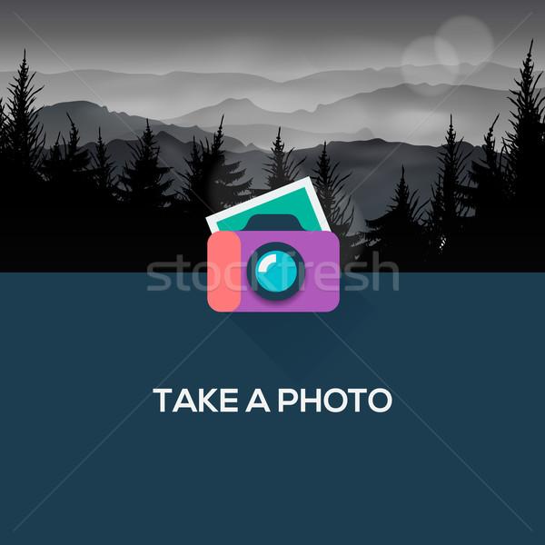 Photo camera web icon flat design Stock photo © ikopylov