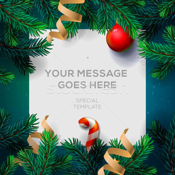 Allegro Natale biglietto d'auguri famiglia Foto d'archivio © ikopylov