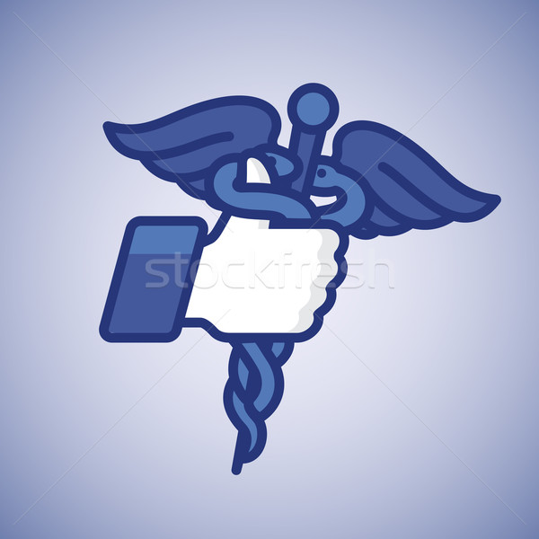 Like/Thumbs Up icon with caduceus medical symbol Stock photo © ikopylov