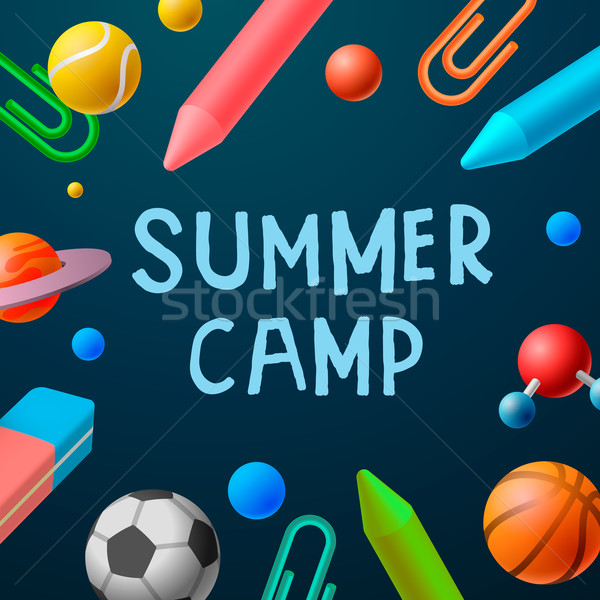 Themed Summer Camp 2016 poster, sport games Stock photo © ikopylov