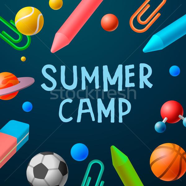 летний лагерь 2016 плакат спорт играх искусства Сток-фото © ikopylov