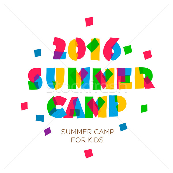 Themed Summer Camp 2016 poster in flat style Stock photo © ikopylov