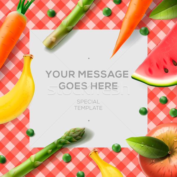 Taze sebze meyve masa örtüsü kâğıt notlar gıda Stok fotoğraf © ikopylov