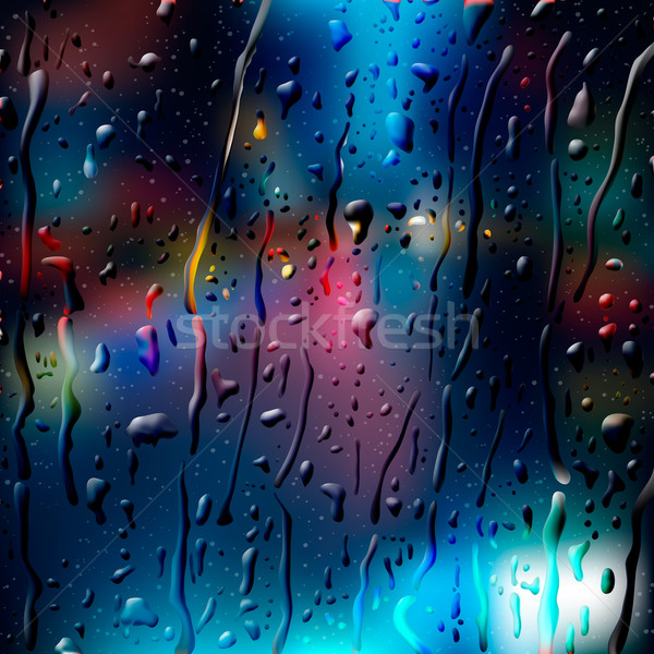 Stock photo: Blurred Defocused Lights of City Road at Night, view through wet glass