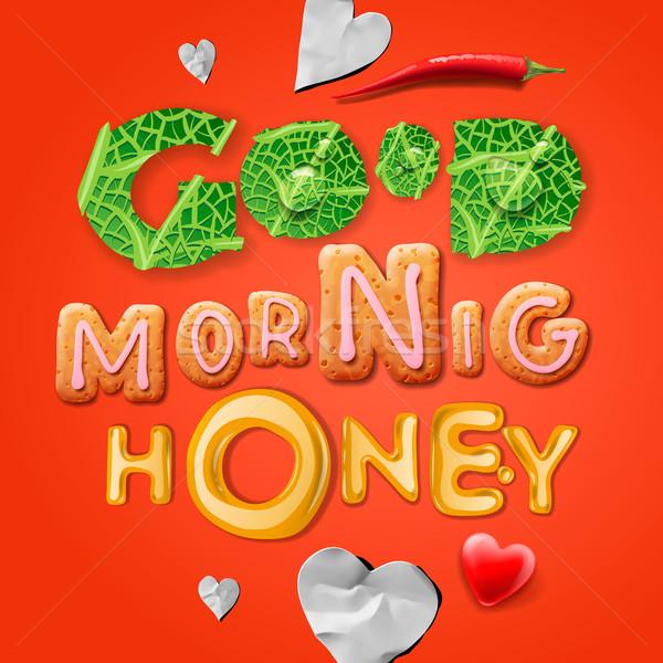 Bonjour miel déjeuner sourire amour design Photo stock © ikopylov