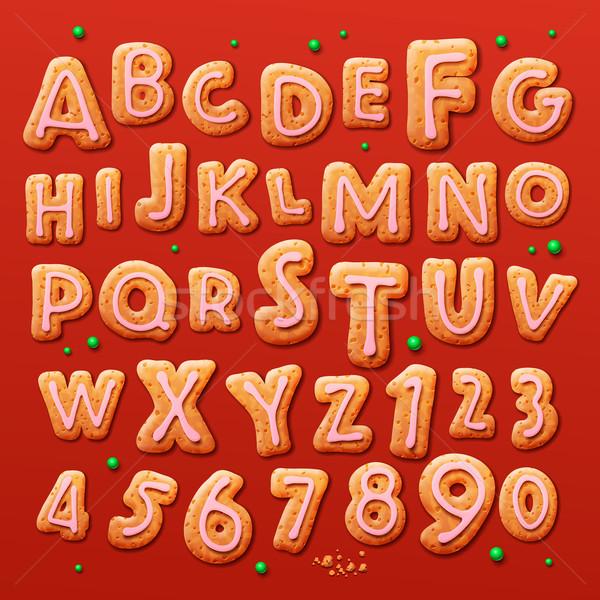Foto stock: Natal · pão · de · especiarias · bolinhos · alfabeto · números · comida
