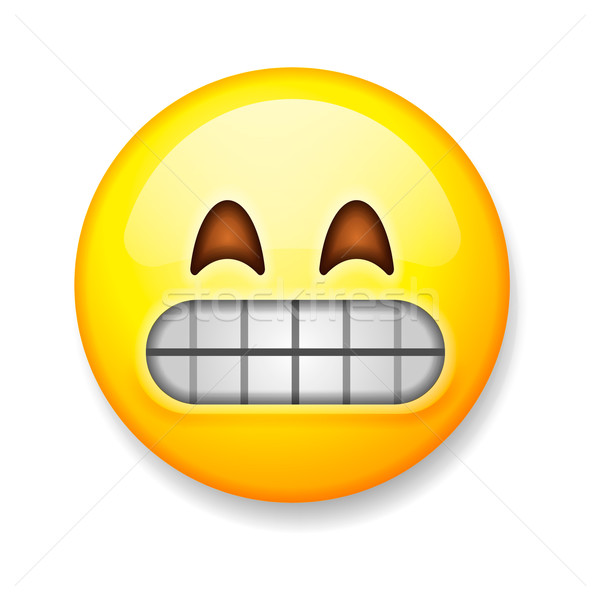 Emoji isolated on white background, emoticon grimacing face Stock photo © ikopylov