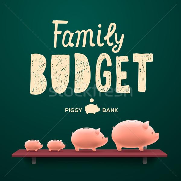 Família orçamento prateleira caixa porco Foto stock © ikopylov