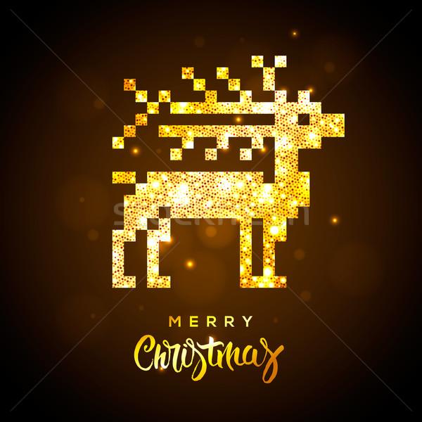 ストックフォト: グリーティングカード · 金 · トナカイ · 陽気な · クリスマス